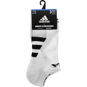 adidas Men's Cushioned II No Show Socks – 3 Pack - L - White