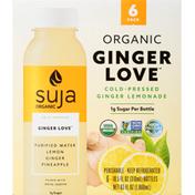 Suja Lemonade, Organic, Ginger Love, 6 Pack