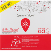 Summer's Eve Cleansing Cloths, Golden Glamour, 5 In 1, On-The-Go