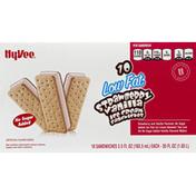 Hy-Vee Ice Cream Sandwiches, Low Fat, Strawberry Vanilla