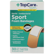 TopCare Sterile Antibacterial Sport First Aid Antiseptic All One Size Foam Bandages