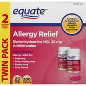 Equate Allergy Relief, 25 mg, Twin Pack