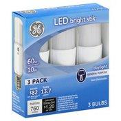 GE Light Bulbs, LED, Bright Stik, Daylight, 10 Watts, 3 Pack