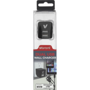 Vibrant Wall Charger, Dual USB, Blister Pack