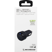 Scosche Fast Charger, for Car, USB-C