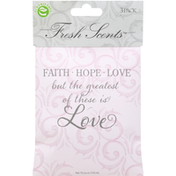 Fresh Scents Scented Sachets, Faith, Hope, Love, 3 Pack