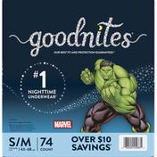 GoodNites Underwear, Nighttime, Marvel, S/M (43-68 lbs), Boys