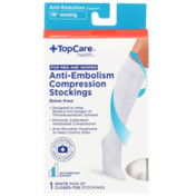TopCare Anti-Embolism Support White Closed-Toe Below Knee Compression Stockings For Men And Women, Medium