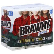 Brawny Paper Towels, White Pick-A-Size Sheets, 6 Large Rolls