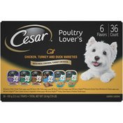 CESAR Poultry Lover's Variety Pack Classics Grilled Chicken/With Turkey/With Duck/Savory Delights Rotisserie Chicken with Bacon & Cheese in Meaty Juices/Home Delights Slow Cooked Chicken & Vegetables Dinner/Turkey, Green Beans & Potatoes Dinner in Sauce Dog Food