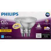 Philips Light Bulbs, LED, Bright White Light, 19 Watts, 2 Bulb Value Pack