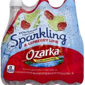 Ozarka Water, Natural Spring, Sparkling, Raspberry Lime Essence