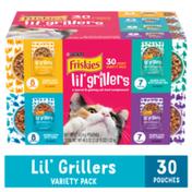 Purina Friskies Gravy Wet Cat Food Complement Variety Pack, Lil' Grillers Chicken, Turkey, Ocean Fish & Tuna