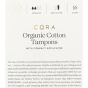 Cora Tampons, Organic, Cotton, with Compact Applicators, Regular