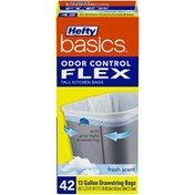 Hefty Odor Control Flex 13 Gallon Drawstring Fresh Scent Tall Kitchen Bags