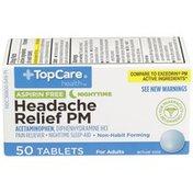 TopCare Headache Relief Pm Aspirin Free Acetaminophen Pain Reliever, Diphenhydramine Hcl Nighttime Sleep-Aid Tablets