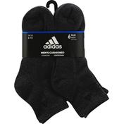 adidas Men's Athletic Quarter Socks - 6 Pack - L - Black/Onix Marl