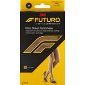 FUTURO Pantyhose, Ultra Sheer, Mild Compression, Medium, Nude