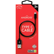 iHip Cable, Type C, Rubber Finish, 3 Feet