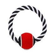 "Seas 6"" Black & White Tennis Ball with Rope Handle"