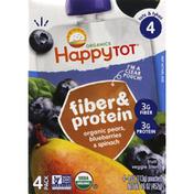 Happy Tot Fruit & Veggie Blend, Organic Pears, Blueberries & Spinach, 4 (Tots & Tykes), 4 Pack