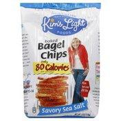 Kims Light Foods Bagel Chips, Baked, Savory Sea Salt