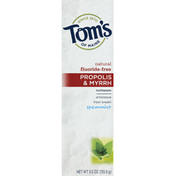 Tom's of Maine Toothpaste, Fluoride-Free, Propolis & Myrrh, Spearmint