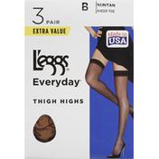 L'eggs Thigh Highs, Sheer Toe, Suntan, Size B