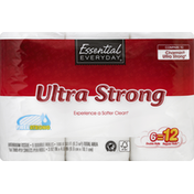 Essential Everyday Bathroom Tissue, Ultra Strong, Double Rolls, Two-Ply