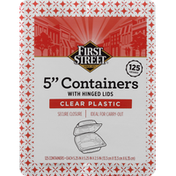 First Street Containers with Hinged Lids, Clear Plastic, 5 Inch