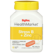 Hy-Vee Healthmarket, Stress B + Zinc Energy & Immune Support Vitamin & Mineral Supplement Tablets