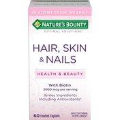 Nature's Bounty Hair, Skin & Nails, with Biotin, 3000 mcg, Coated Caplets