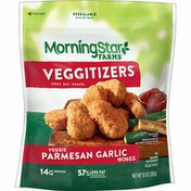 Morning Star Farms Meatless Chicken Wings, Plant Based Protein Vegan Meat, Frozen Meal, Parmesan Garlic
