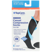 TopCare Moderate Support Casual Black Closed-Toe Knee High Compression Socks For Women, Medium