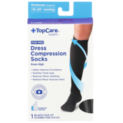 TopCare Moderate Support Dress Black Closed-Toe Knee High Compression Socks For Men, X-Large