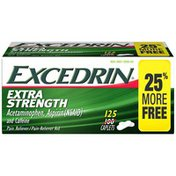 Excedrin Extra Strength Caplets for Headache Pain Relief, 125 count