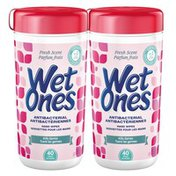 Wet Ones Antibacterial Hand Wipes Fresh Scent Canisters Twin Pack - 80 Count