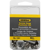 General Fastener Kit, Screw Snap, Nickel Plated