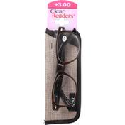 Clear Readers Eyeglasses, +3.00