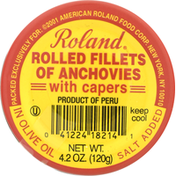 Roland Rolled Fillets of Anchovies, with Capers, in Olive Oil