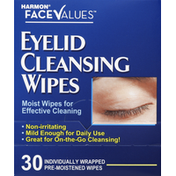 Harmon Face Values Cleansing Wipes, Eyelid
