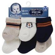 Gerber Socks, Wiggle Proof, 0-3 Months, 6 Pack