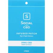 Social CBD Infused Patch, 20 mg CBD Hemp Extract, 3 Pack