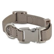 Bond & Co Extra Small & Small Adjustable Grey Leather Small Dog Collar