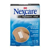 Nexcare Tegaderm + Pad Waterproof Transparent Adhesive Pads - 5 CT