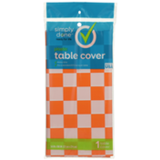 Simply Done Plastic Table Cover, Orange Check