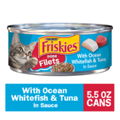 Purina Friskies Wet Cat Food, Prime Filets With Ocean Whitefish & Tuna in Sauce