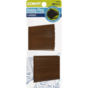 Conair Bobby Pins, Brown, Curved