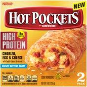 Hot Pockets High Protein Chorizo, Egg & Cheese Frozen Breakfast Sandwiches