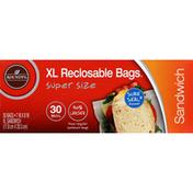 Roundy's Sandwich Bags, Reclosable, XL, Supersize